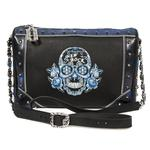 M.BAG056-C1 RAW NEGRO BOX AZUL METAL BORDADOS AZUL