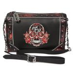 M.BAG056-S2 CRUST NEGRO BOX ROJO METAL BORDADOS ROJOS